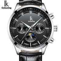 IK mejor marca esqueleto automático reloj de vestir hombres impermeable reloj de negocios hombre mecánico fecha Día Luna fase Montre Homme