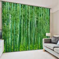 Personalizar tamaño 3D cortina verde bambú bosque sombra apagón ventana cortinas para sala cortinas para Cocina