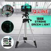 12 línea 100 xStrong luz verde 3D nivel láser de 360 Vertical Horizontal-nivelación Cruz rayo láser de línea w/soporte del trípode
