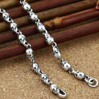 Cadena de colocación de adornos de plata 925 Plata tailandesa restaurando maneras antiguas es la edición de han cráneo Cadena de plata collar de 3mm