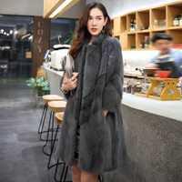 Abrigo de piel auténtica de visón, chaqueta de invierno 2020, chaquetas de lujo Natural para mujeres, todo en piel, Chaqueta larga coreana MY3942 s