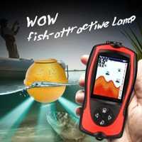 1 juego inalámbrico buscador de pesca alarma de mordida buscador de peces 147ft 45m agua más profunda ecoscandaglio pesca pez buscador de sónar para pesca