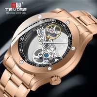 Reloj Automático Tevise para hombre relojes mecánicos esqueleto hueco auto-bobinado Hombre Deporte acero reloj de pulsera