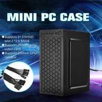 Nouveau Mini boîtier PC USB2.0 Support de châssis 3.5HHD 2.5 ssd CPU radiateur Compatible avec Micro/ITX carte mère noir