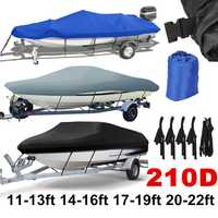 14-22ft trailable 210D Boat Cover impermeable gris Fish-Ski v-hull Sunproof UV Protector Speedboat cubierta de amarre D45