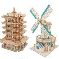 Rompecabezas difícil 3d DIY modelo de edificio de madera adulto chico ensamblado a mano de casa de madera de juguete de los niños de forma rompecabezas de juguete educativo
