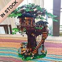 En stock 21318 nouvelle maison d'arbre les plus grandes idées modèle 3000 + pièces blocs de construction briques enfants jouets éducatifs cadeaux