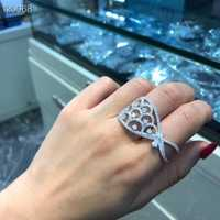 Plata de Ley 925 Diamante de lujo entre el anillo de dedo mujeres boda anillo de doble dedo S925 oro/placa de platino fina bijoux