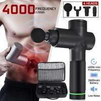 4000r/min terapia de masaje armas 3 marchas muscular masajeador dolor deporte máquina de masaje de relajar cuerpo adelgazar alivio 4 cabezas con bolsa