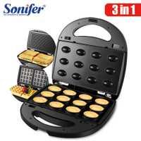 Máquina eléctrica para hacer Waffles 3 en 1, máquina para hacer sándwiches de hierro, máquina para hacer rosquillas de huevo, pastel, horno, máquina para hacer Waffles de desayuno Sonifer