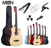 38 pouces guitare acoustique guitare débutant Instruments de musique Professiona gratuit 6 Pec cadeaux cordes Capo paquet 17 couleur en option