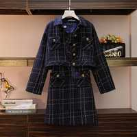 Nouveauté 2019 femmes robe ensemble OL automne haute qualité 2 pièce Tweed élégant plaid robe costume femme a-ligne Vestidos L-5XL