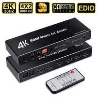 Matriz HDMI 4x2 4K a 30Hz divisor hdmi Spdif HDMI 4x2 matriz interruptor soporte HDCP control remoto infrarrojo 2,2