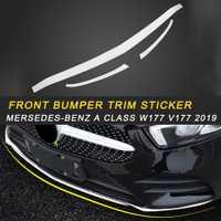 Accessoires de couverture d'autocollant de miroir de garniture de pare-chocs avant pour la voiture automatique de la classe W177 V177 2019 de mersedes-benz A