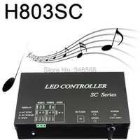 Controlador de píxeles de música H803SC SD con tarjeta LED DMX512, WS2812, etc. Unidades de entrada de Cable de Audio y micrófono máximo 4096 píxeles