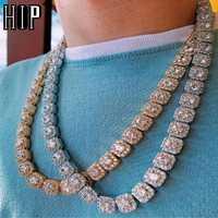 Hip Hop 10MM Bling Iced Out Tennis Chain cuadrado entramado AAA CZ piedra oro plata Cubic Zircon Chokers collares para hombres joyería