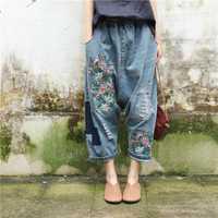 Pantalones de mezclilla holgados de la entrepierna baja de las mujeres más el tamaño elástico de la cintura Floral bordado Jeans Hip Hop oversize Harem pantalones novio