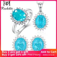 Kuololit Paraiba Tourmaline pierre gemme ensemble de bijoux pour les femmes solide 925 en argent Sterling anneau boucles d'oreilles colliers pour cadeaux de mariage