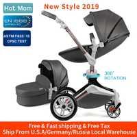 Chaude maman bébé poussette 3 en 1 système de voyage avec couffin et siège auto 360 ° fonction de Rotation, landau de luxe F023
