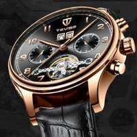 Relojes de Tevise para hombre relojes mecánicos automáticos Tourbillon Esqueleto cuero militar pulsera relogia automático Masculino