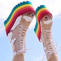 2020 arc-en-ciel bottines haute plate-forme talons bottes courtes discothèque gâteau bas dames chaussures semelle épaisse Transparent PVC chaussons