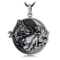 S925 de plata hecho a mano dragón collar con colgante de tigre 100% de Plata de Ley 925 Fengshui Taichi Yinyang COLLAR COLGANTE amuleto de buena suerte