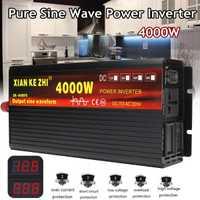 Onduleur 12 V/24 V 220V 2000/3000/4000W transformateur de tension onduleur à onde sinusoïdale Pure DC12V à convertisseur ca 220V + affichage 2 LED