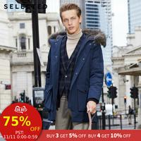 Select hommes hiver fourrure de raton laveur col doudoune chaud longs vêtements grandes poches Style moyen manteau S | 418412535