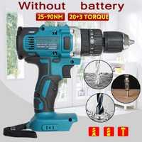 Para Makita 18V 90N.m taladro eléctrico inalámbrico destornillador 3 en 1 1500 RPM herramientas eléctricas sin escobillas perforadora de impacto inalámbrica