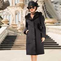 Abrigo de piel de visón verdadero lujo Parka de piel Natural para mujer ropa de invierno 2020 chaqueta de manga de pelo de conejo para mujer abrigo largo mi