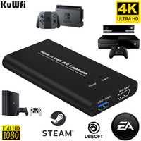KuWFi USB3.0 HDMI 4K60Hz Capture vidéo HDMI vidéo USB carte de capture Dongle jeu en streaming Diffusion en direct de diffusion avec MICinput