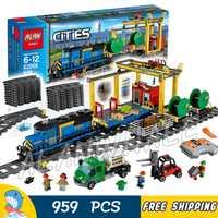 959 pièces ville motorisée télécommande Cargo Train passe-temps 02008 modèle bloc de construction garçon brique puissance fonctions compatibles avec Lego
