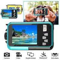 Cámara Digital TFT impermeable 24MP MAX 1080P doble pantalla 16x Zoom Digital videocámara HD268 Cámara subacuática r20