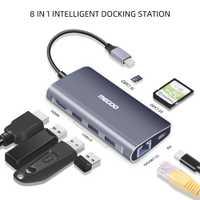 Megoo 8 en 1 USB C Station d'accueil pour ordinateur portable Type C vers VGA/HDMI/Ethernet/USB3.0/PD Station d'accueil de Charge pour Surface Go/Mac Pro