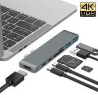 Rocketek doble puerto usb-c 3,1 Con usb 3,0 hub 4K HD Adaptador SD TF lector de tarjetas para accesorios para ordenador portátil MacBook pro