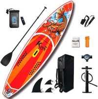 Ensemble de Surf gonflable de Kayak de planche de Surf de Sup-Board de pagaie 11 '* 33 ''* 6'' avec le sac à dos, laisse, pompe, sac imperméable, ailerons