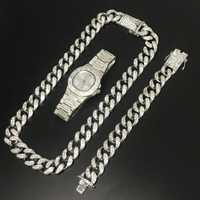 Hip Hop collar de Color plata cristal Miami Cadena de plata hombres reloj y collar y pulsera de moda hielo conjunto de joyería cubana para hombres