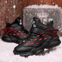 Nuevas zapatillas de baloncesto PU para niños, zapatillas deportivas para estudiantes, color negro y azul