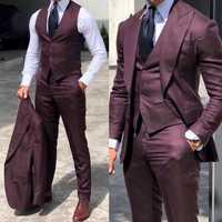Chic mariage Tuxedos costumes Slim Fit marié pour hommes 3 pièces garçons d'honneur costume formel affaires tenues fête (veste + gilet + pantalon