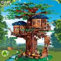 Idées arbre maison modèle feuilles deux couleurs compatibles blocs de construction briques legoingLYs 21318 enfants jouet éducatif noël cadeau