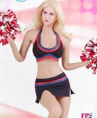 Cuatro colores 1/6 juguetes de la muchacha del fuego falda negra de las porristas ropa del vestido del Sujetador deportivo para el busto del pecho grande de 12'' el cuerpo de las cifras