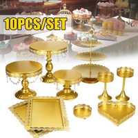 10 Uds. Soporte de pastel de Cupcake de Metal dorado Set de soporte de postre de fiesta de boda Placa de torre de exhibición con colgante de joyería Floral Borde