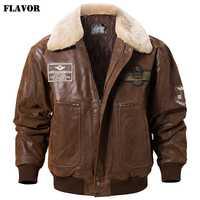 Saveur nouveau blouson aviateur en cuir véritable pour hommes avec col en fourrure amovible vestes en peau de porc en cuir véritable manteau d'hiver chaud pour hommes
