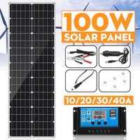 100W panneau solaire 18V Double USB avec 10/20/30/40A Double USB contrôleur de régulateur de panneau solaire ect pour voiture yacht RV lumières Charge
