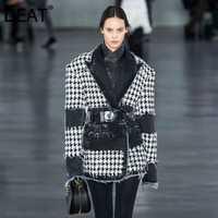 DEAT 2019 automne et hiver nouveaux produits mode rétro revers Plaid avec ceinture à manches longues costume ample veste femme PB052