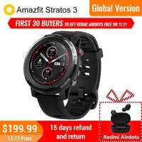 Amazfit Stratos 3 smartwatch montre de Sport GPS hommes et femmes fréquence cardiaque étanche 19 Modes Sport