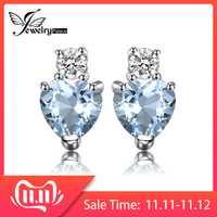 Coeur naturel aigue-marine blanc topaze boucles d'oreilles en argent Sterling 925 boucles d'oreilles pour les femmes coréennes boucles d'oreilles bijoux de mode 2019