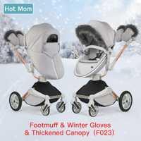 Maman chaude F023 poussette hiver outkit avec chancelière et gants d'hiver auvent épaissi pour poussette