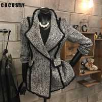 Coreano mujer chaqueta abrigos de lana temperamento traje de lana chaqueta botón Slim de manga larga de lana chaquetas mujeres otoño