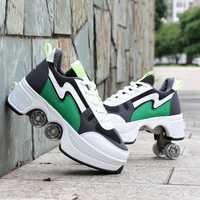 Chaussures de déformation Double rangée Double-roue chaussures de course automatique quatre roues Double usage patins à roulettes chaussures de planche à roulettes